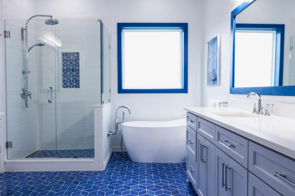 Santorini-Style Patterned Bathroom Floor Tiles