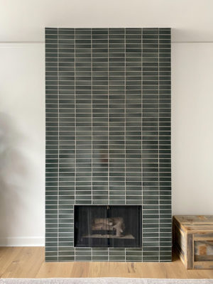 Dark Green Handmade Fireplace Tiles