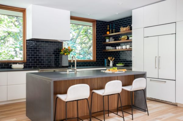 Kitchen with Navy Blue Subway Tiles