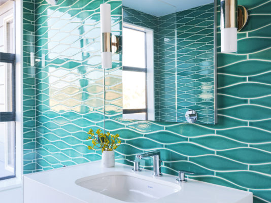 Green Wave Tile Bathroom in Bora Bora