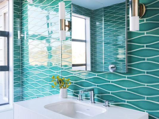 Green Wave Tile Bathroom in Bora Bora