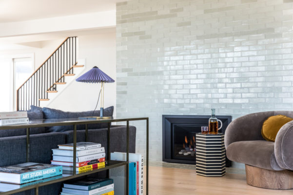 Recessed Fireplace with Glazed Thin Brick Wall