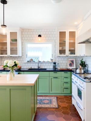 White Subway Tiles and Hexagon Tiles Kitchen
