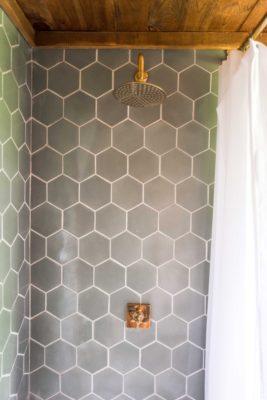 The Hunter Houses: Hexagon Tile Bathroom