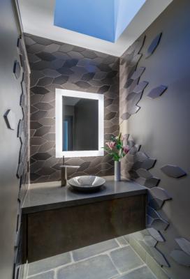 Modernist Retreat feat. Grey Bathroom Tiles