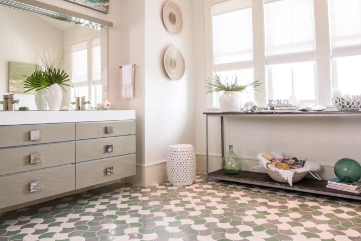 Tile by Style: Coastal Bathroom Escape | Fireclay Tile Rainy Day Bathroom Design on water bathroom design, black and white bathroom design, beach bathroom design, faith bathroom design, under the sea bathroom design, home bathroom design, arts and crafts bathroom design, classic bathroom design,