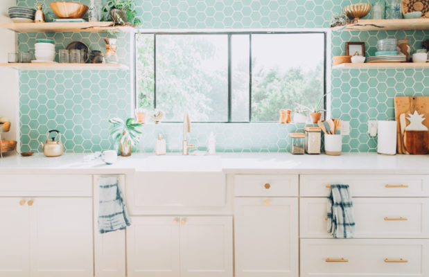 Design Trends: Colorful Tile and White Kitchen Cabinets