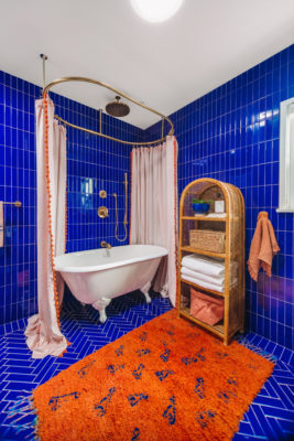 Vibrant Blue Bathroom Remodel