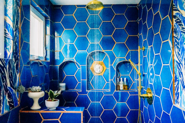 Welcome to the Jungalow: Justina Blakeney's Deep Blue Master Bath