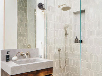 Mokume Design Studio: Grey Shower Tile in Mist