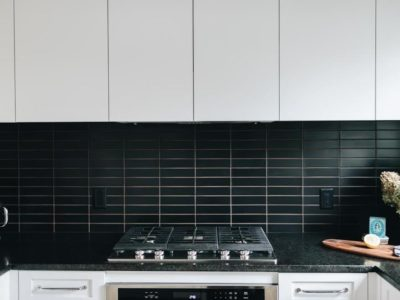 Matte Black Kitchen Backsplash