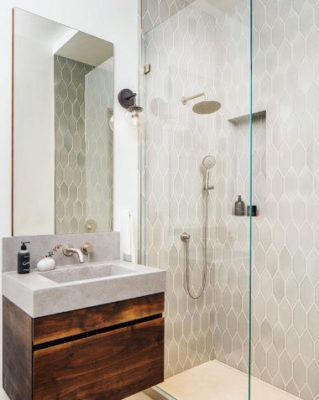 Mokume Design Studio: Grey Shower Tile in Mist