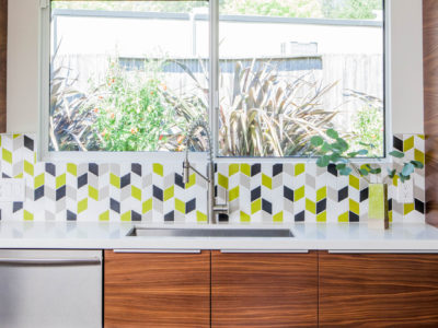 Mt. Ranier Eichler: Small Diamond Kitchen Backsplash