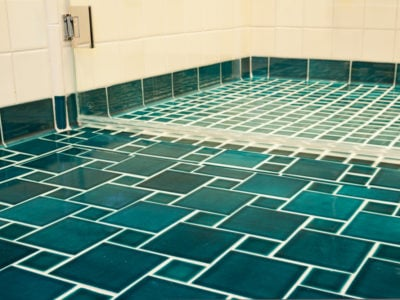 Vibrant Blue Bathroom Floor