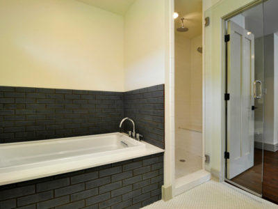 Contemporary Glazed Brick Bathroom