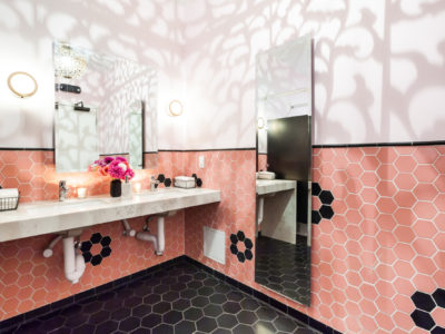 Mister Jiu's: Two-Toned Hexagon Bathroom