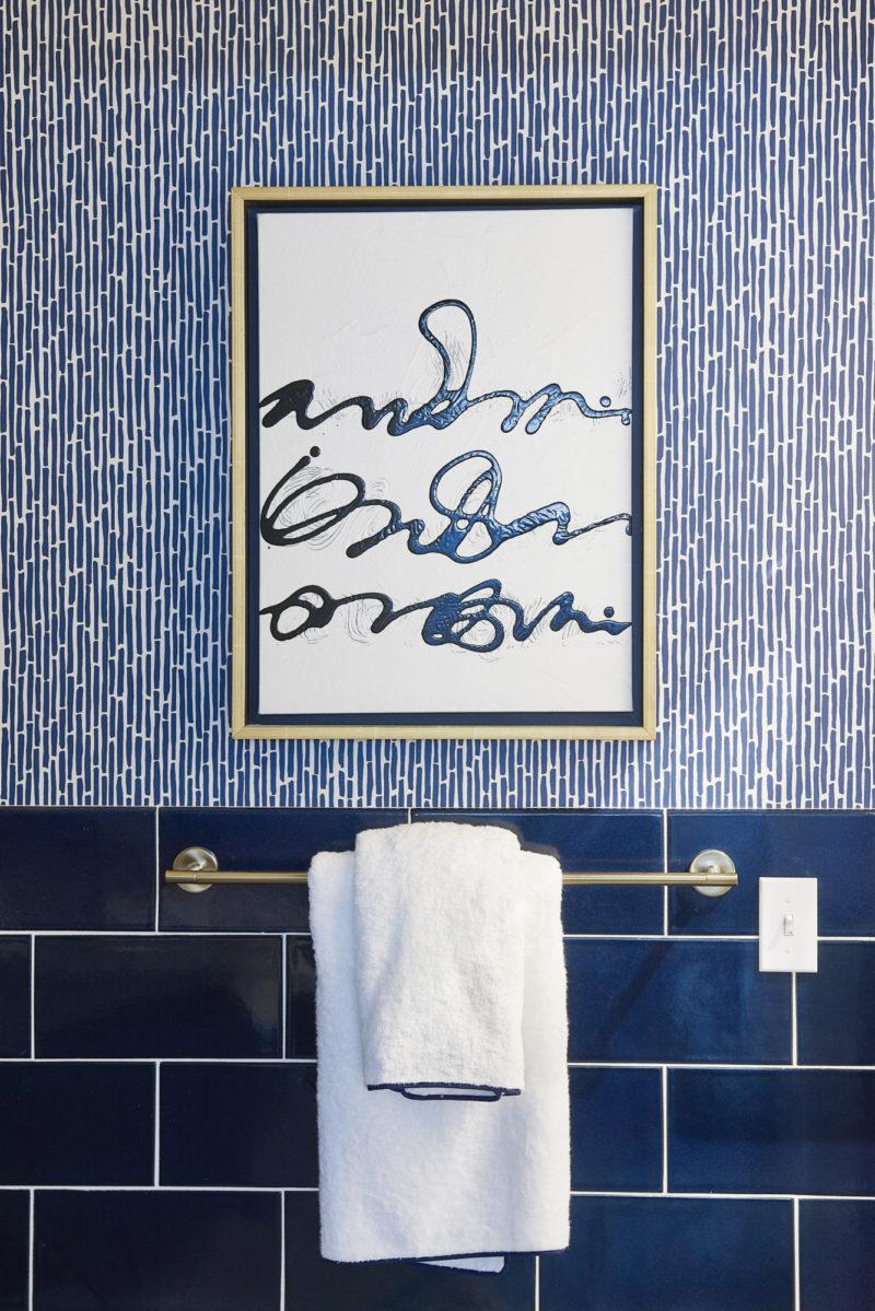 Navy Blue Bathroom Fireclay Tile