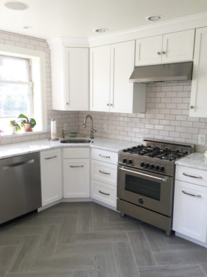 Gray & White Kitchen with Subway Tile Backsplash in Tusk