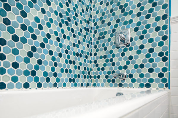 Eclectic Blue Bathroom Remodel