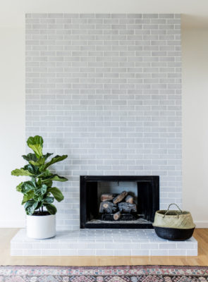 Glazed Brick Fireplace Plays It Cool