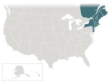 The Northeast: NY, NJ, CT, ME, MA, VT, NH, RI, Quebec, & New Brunswick