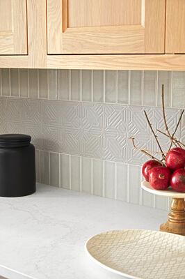 House Beautiful Jo Saltz's Grey Kitchen Tiles