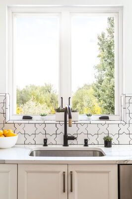 Starry White Patterned Kitchen Tiles