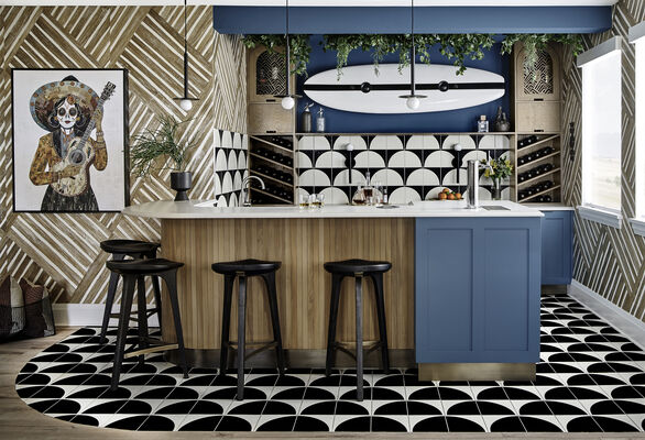 House Beautiful Concept House: Family Lounge Handpainted Tiles
