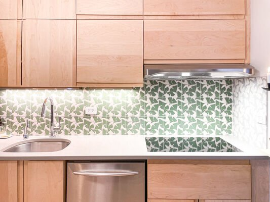 Green Ginkgo Kitchen Backsplash