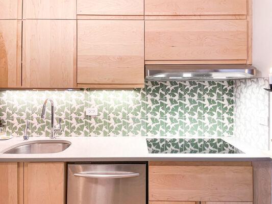 Green Ginkgo Kitchen Backsplash