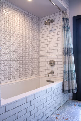 Handmade White Subway Tile Tub Surround