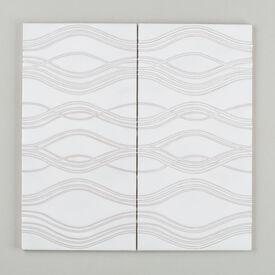Contemporary  Handpainted  Ripple  Updated  Nov 2015  White  Motif