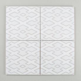 Contemporary Diamond Lattice Handpainted Updated Nov 2015 White Motif